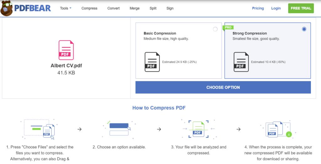 PDFBear compressor tool