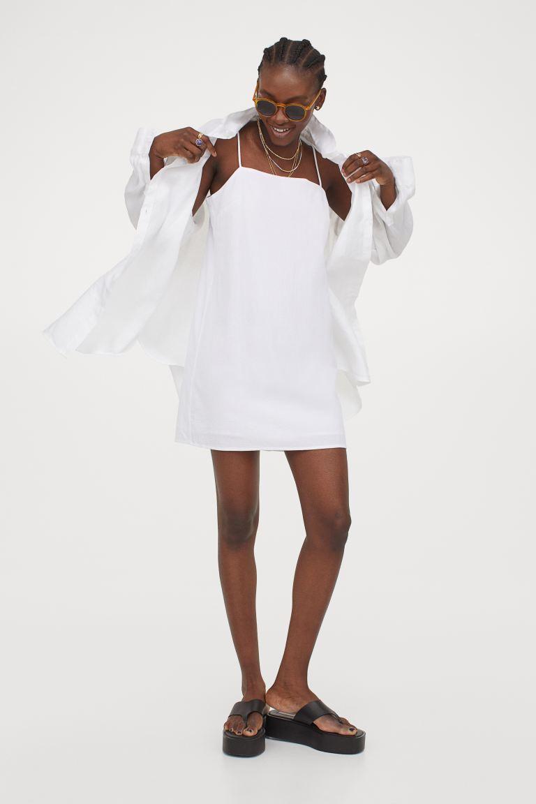 White mini dress, cotton.